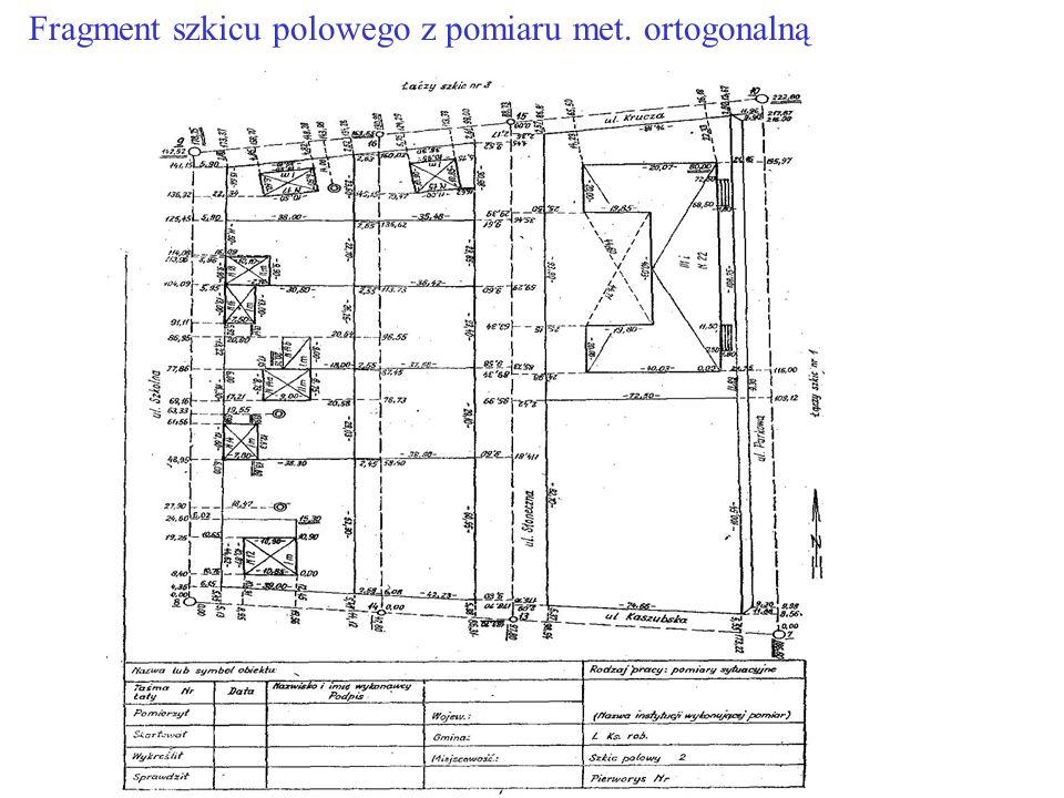 Fragment szkicu polowego z pomiaru met. ortogonalną