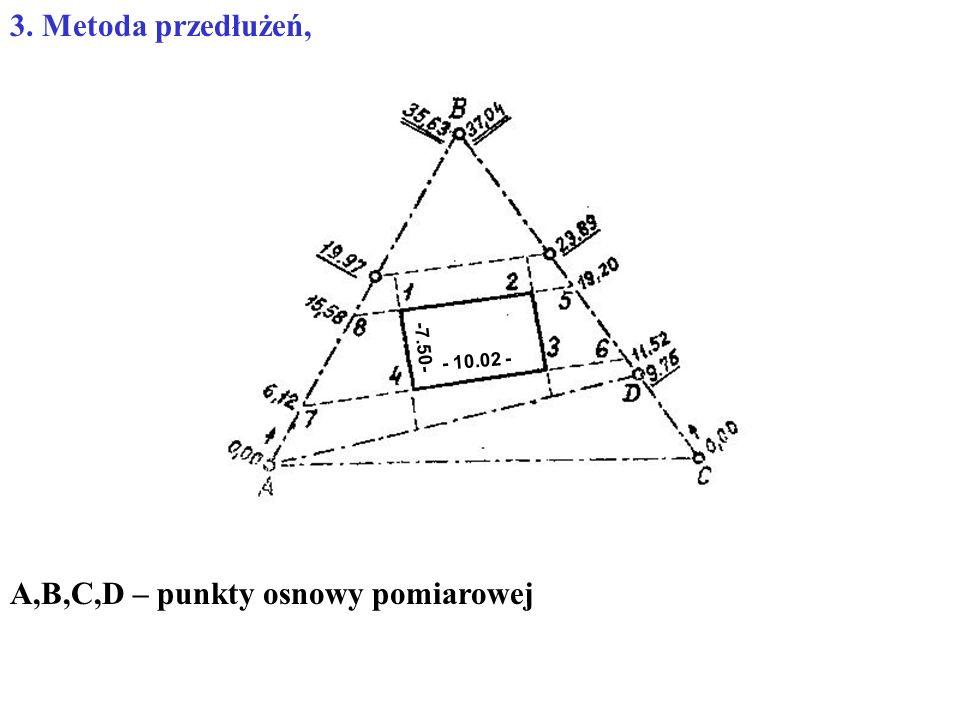 3. Metoda przedłużeń, A,B,C,D – punkty osnowy pomiarowej - 10.02 - -7.50-