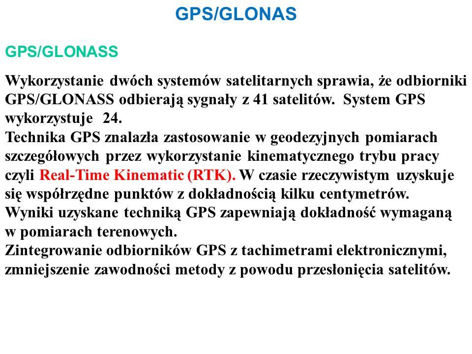 GPS/GLONAS GPS/GLONASS Wykorzystanie dwóch systemów satelitarnych sprawia, że odbiorniki GPS/GLONASS odbierają sygnały z 41 satelitów.
