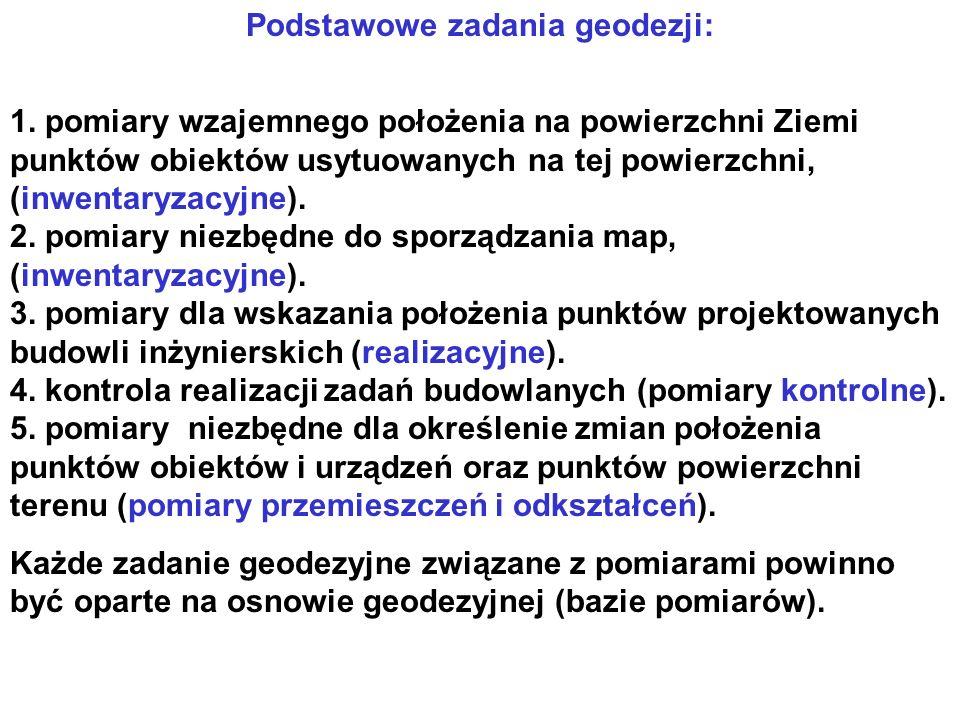 Podstawowe zadania geodezji: 1.