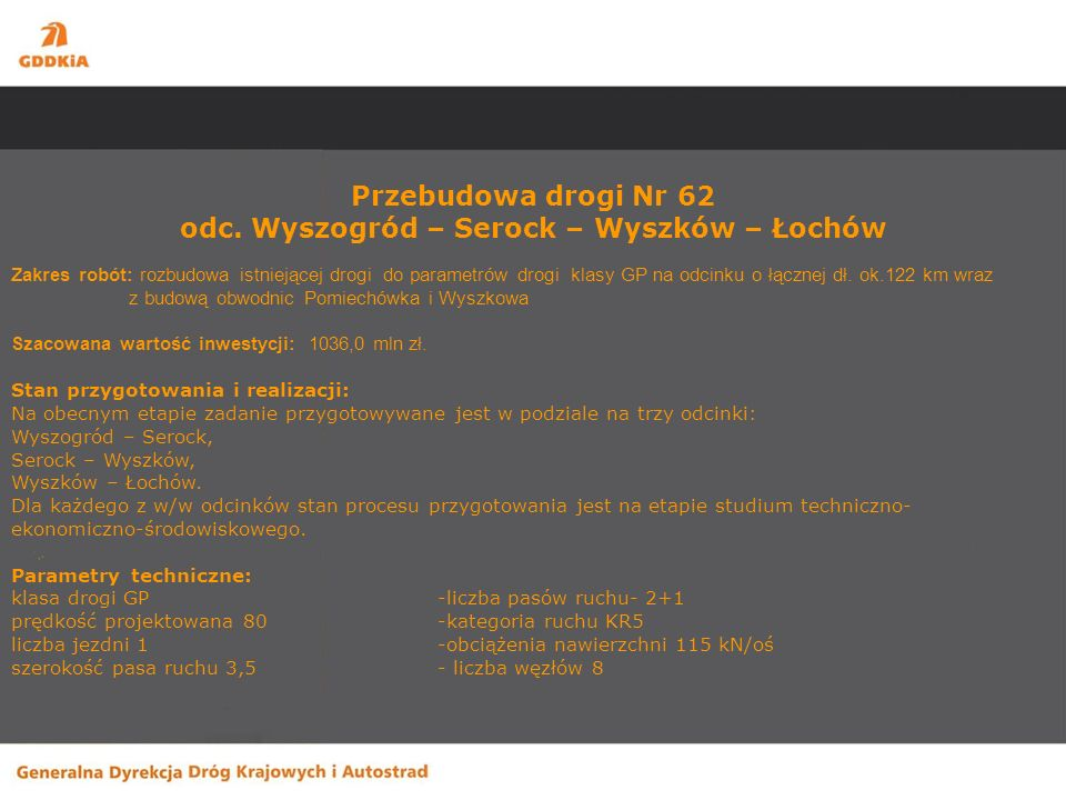 Przebudowa drogi Nr 62 odc. Wyszogród – Serock – Wyszków – Łochów