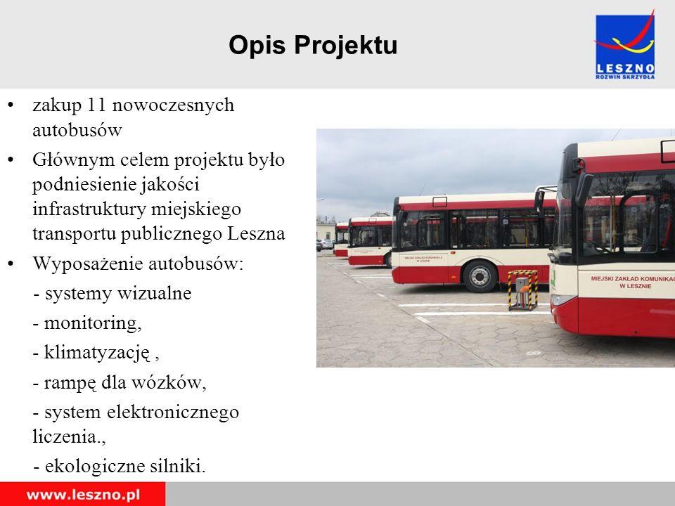 Opis Projektu zakup 11 nowoczesnych autobusów Głównym celem projektu było podniesienie jakości infrastruktury miejskiego transportu publicznego Leszna Wyposażenie autobusów: - systemy wizualne - monitoring, - klimatyzację, - rampę dla wózków, - system elektronicznego liczenia., - ekologiczne silniki.