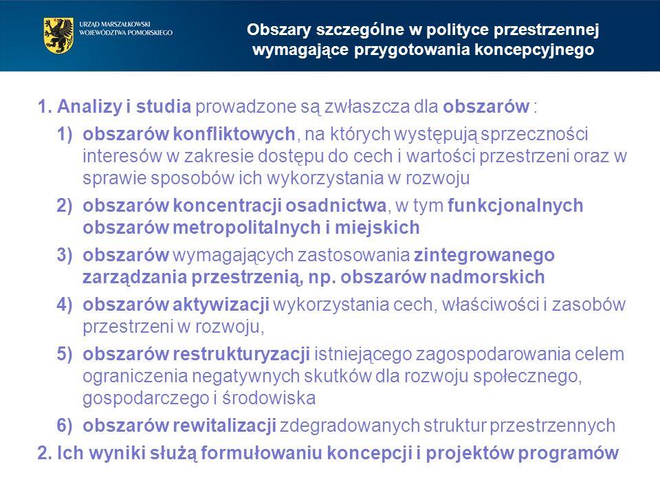Obszary szczególne w polityce przestrzennej wymagające przygotowania koncepcyjnego 1. Analizy i studia prowadzone są zwłaszcza dla obszarów : 1)obszar