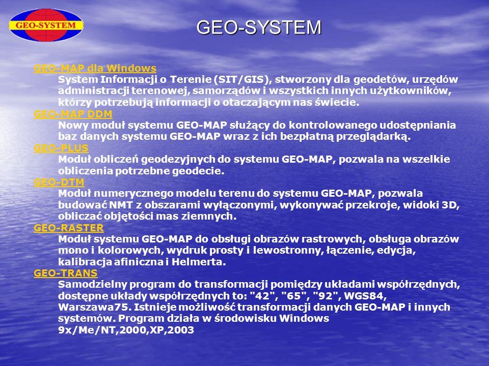 GEO-SYSTEM GEO-MAP dla Windows System Informacji o Terenie (SIT/GIS), stworzony dla geodet ó w, urzęd ó w administracji terenowej, samorząd ó w i wszy