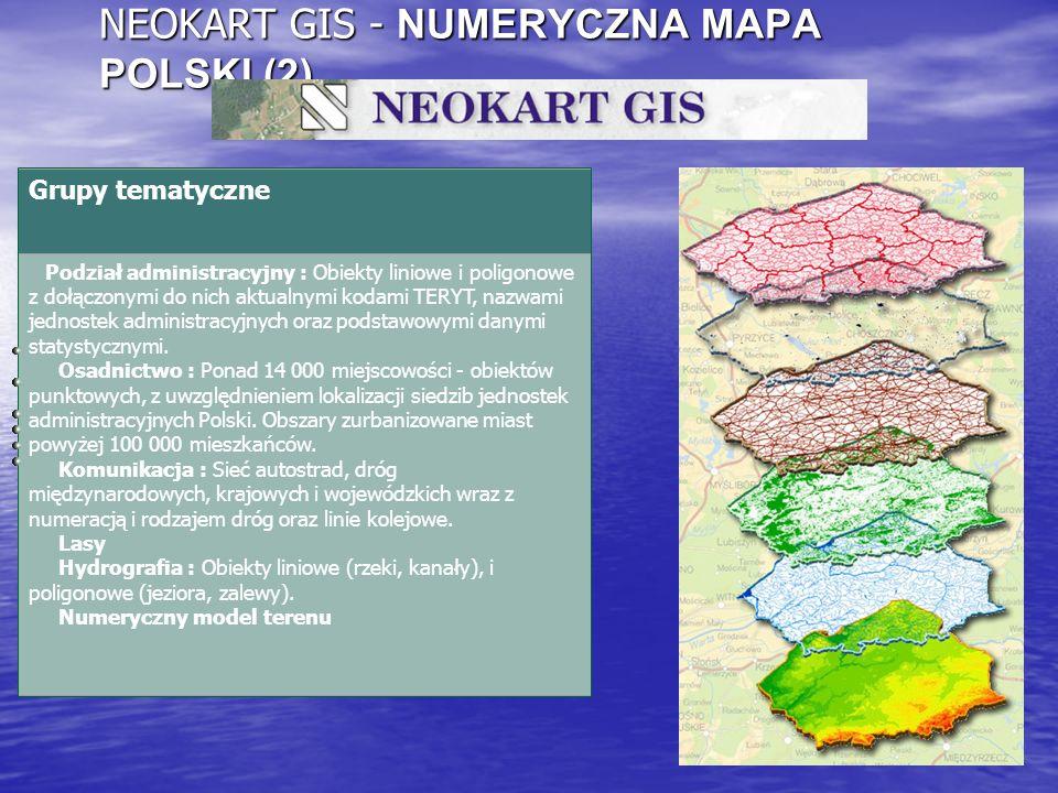 NEOKART GIS - NUMERYCZNA MAPA POLSKI (2) Grupy tematyczne Podział administracyjny : Obiekty liniowe i poligonowe z dołączonymi do nich aktualnymi koda