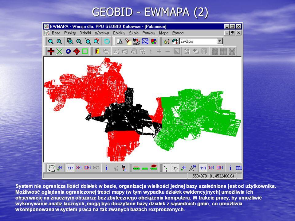 GEOBID - EWMAPA (2) System nie ogranicza ilości działek w bazie, organizacja wielkości jednej bazy uzależniona jest od użytkownika. Możliwość oglądani