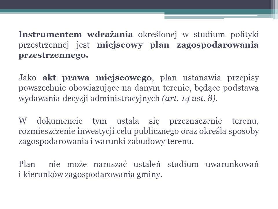 Instrumentem wdrażania określonej w studium polityki przestrzennej jest miejscowy plan zagospodarowania przestrzennego.