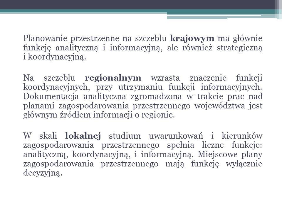 Koncepcja Przestrzennego Zagospodarowania Kraju określa (art.47 ust.2 – obowiązuje od 8 kwietnia 2014 r.): podstawowe elementy krajowej sieci osadniczej, wymagania z zakresu ochrony środowiska i zabytków, z uwzględnieniem obszarów podlegających ochronie, rozmieszczenie infrastruktury społecznej o znaczeniu krajowym i międzynarodowym, rozmieszczenie obiektów infrastruktury technicznej i transportowej, strategicznych zasobów wodnych i obiektów gospodarki wodnej o znaczeniu międzynarodowym i krajowym, obszary funkcjonalne w ramach typów, o których mowa w art.