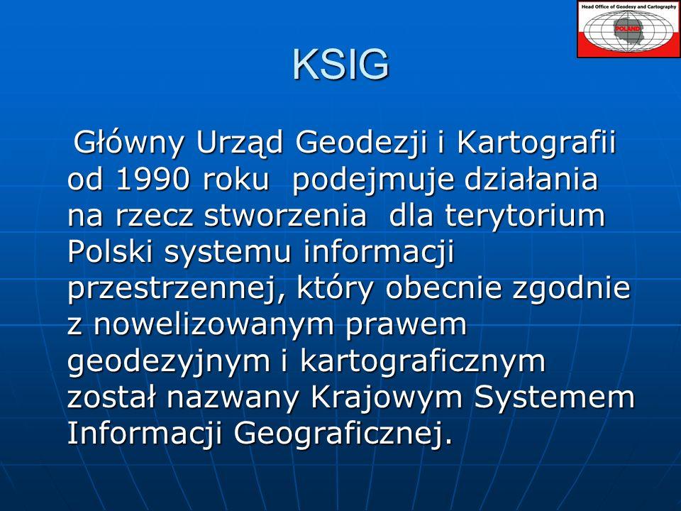 Krajowy System Informacji geograficznej (KSIG) Krajowy System Informacji geograficznej (KSIG) stanowi referencyjny rejestr państwowy, standaryzowane bazy danych przestrzennych, dotyczące obszaru kraju, a także procedury i techniki służące systematycznemu zbieraniu, aktualizowaniu, przetwarzaniu i udostępniania danych.