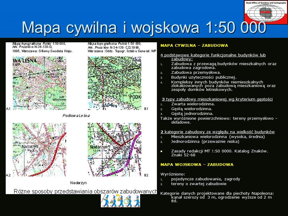 Mapa cywilna i wojskowa 1:50 000 MAPA CYWILNA – ZABUDOWA 4 podstawowe kategorie funkcjonalne budynków lub zabudowy: 1.