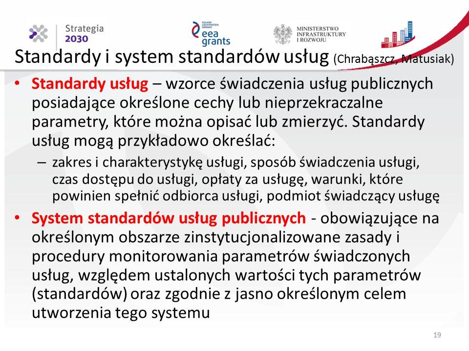 Standardy i system standardów usług (Chrabąszcz, Matusiak) Standardy usług – wzorce świadczenia usług publicznych posiadające określone cechy lub nieprzekraczalne parametry, które można opisać lub zmierzyć.