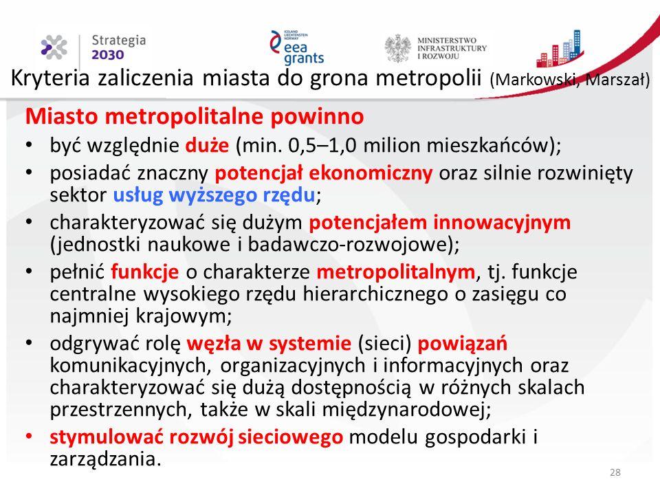 Kryteria zaliczenia miasta do grona metropolii (Markowski, Marszał) Miasto metropolitalne powinno być względnie duże (min.