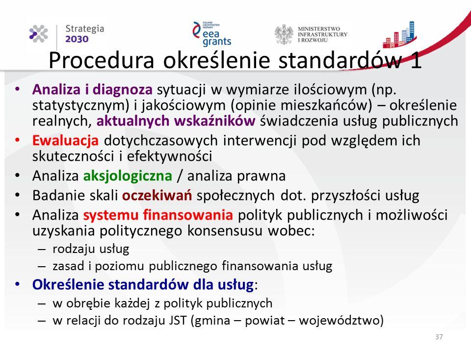 Procedura określenie standardów 1 Analiza i diagnoza sytuacji w wymiarze ilościowym (np.