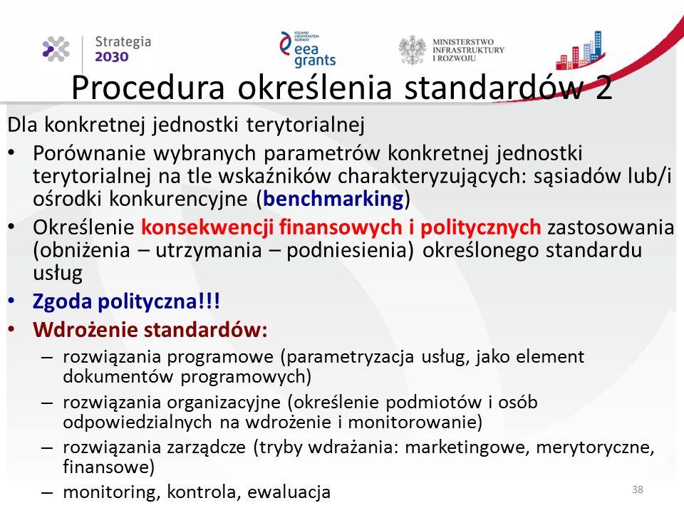 Procedura określenia standardów 2 Dla konkretnej jednostki terytorialnej Porównanie wybranych parametrów konkretnej jednostki terytorialnej na tle wskaźników charakteryzujących: sąsiadów lub/i ośrodki konkurencyjne (benchmarking) Określenie konsekwencji finansowych i politycznych zastosowania (obniżenia – utrzymania – podniesienia) określonego standardu usług Zgoda polityczna!!.
