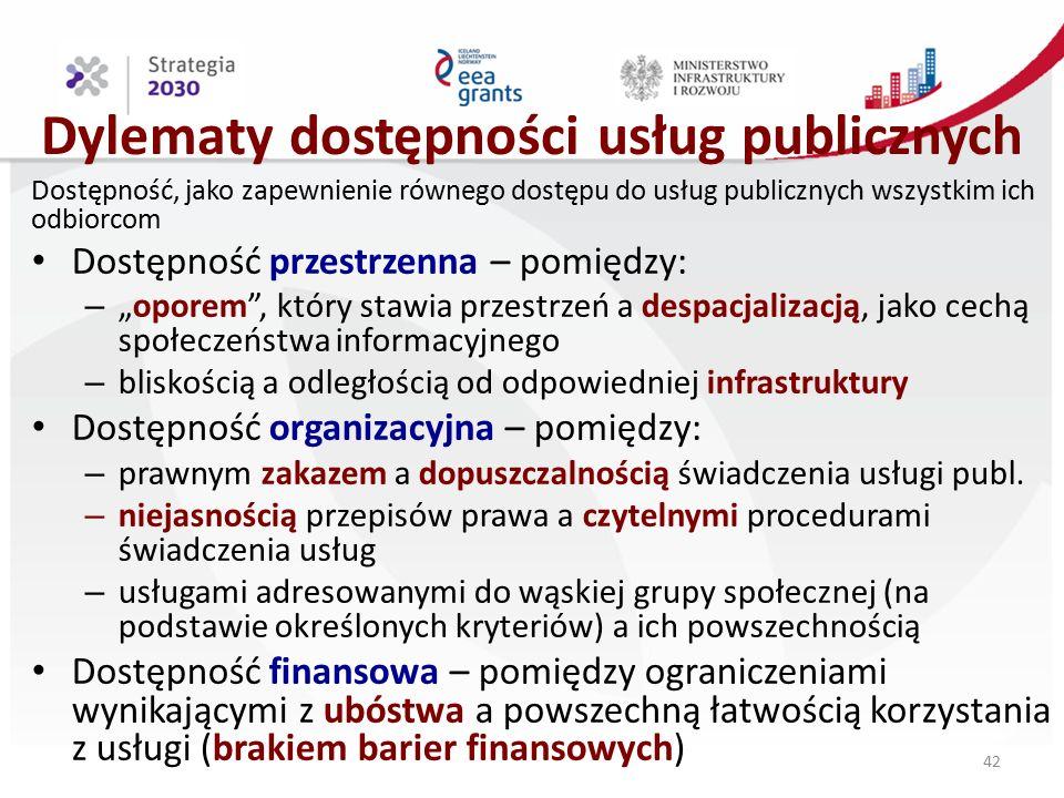 """Dylematy dostępności usług publicznych Dostępność, jako zapewnienie równego dostępu do usług publicznych wszystkim ich odbiorcom Dostępność przestrzenna – pomiędzy: – """"oporem , który stawia przestrzeń a despacjalizacją, jako cechą społeczeństwa informacyjnego – bliskością a odległością od odpowiedniej infrastruktury Dostępność organizacyjna – pomiędzy: – prawnym zakazem a dopuszczalnością świadczenia usługi publ."""