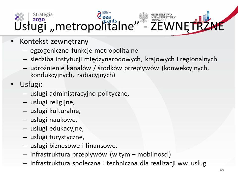 """Usługi """"metropolitalne - ZEWNĘTRZNE Kontekst zewnętrzny – egzogeniczne funkcje metropolitalne – siedziba instytucji międzynarodowych, krajowych i regionalnych – udrożnienie kanałów / środków przepływów (konwekcyjnych, kondukcyjnych, radiacyjnych) Usługi: – usługi administracyjno-polityczne, – usługi religijne, – usługi kulturalne, – usługi naukowe, – usługi edukacyjne, – usługi turystyczne, – usługi biznesowe i finansowe, – infrastruktura przepływów (w tym – mobilności) – Infrastruktura społeczna i techniczna dla realizacji ww."""