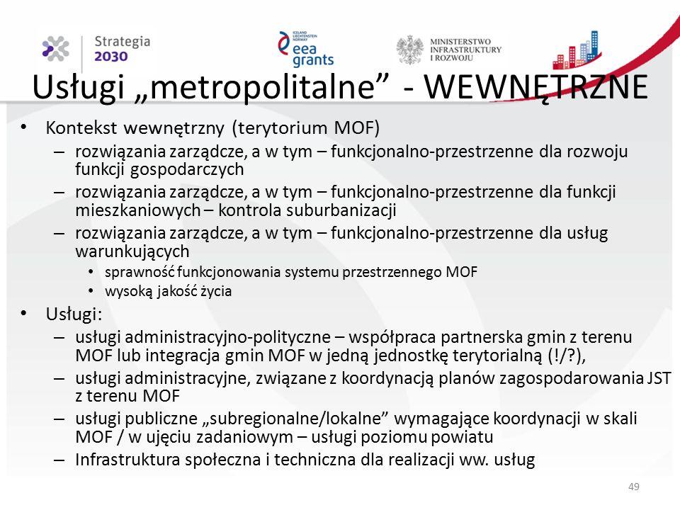 """Usługi """"metropolitalne - WEWNĘTRZNE Kontekst wewnętrzny (terytorium MOF) – rozwiązania zarządcze, a w tym – funkcjonalno-przestrzenne dla rozwoju funkcji gospodarczych – rozwiązania zarządcze, a w tym – funkcjonalno-przestrzenne dla funkcji mieszkaniowych – kontrola suburbanizacji – rozwiązania zarządcze, a w tym – funkcjonalno-przestrzenne dla usług warunkujących sprawność funkcjonowania systemu przestrzennego MOF wysoką jakość życia Usługi: – usługi administracyjno-polityczne – współpraca partnerska gmin z terenu MOF lub integracja gmin MOF w jedną jednostkę terytorialną (!/?), – usługi administracyjne, związane z koordynacją planów zagospodarowania JST z terenu MOF – usługi publiczne """"subregionalne/lokalne wymagające koordynacji w skali MOF / w ujęciu zadaniowym – usługi poziomu powiatu – Infrastruktura społeczna i techniczna dla realizacji ww."""