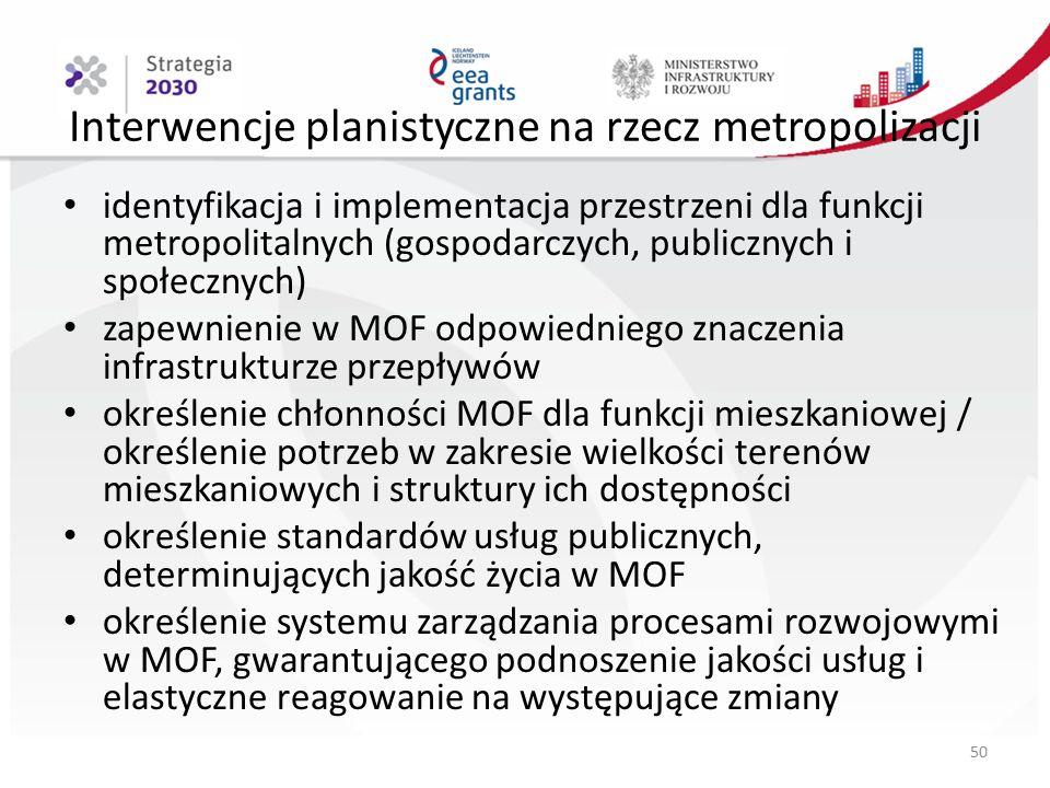 Interwencje planistyczne na rzecz metropolizacji identyfikacja i implementacja przestrzeni dla funkcji metropolitalnych (gospodarczych, publicznych i społecznych) zapewnienie w MOF odpowiedniego znaczenia infrastrukturze przepływów określenie chłonności MOF dla funkcji mieszkaniowej / określenie potrzeb w zakresie wielkości terenów mieszkaniowych i struktury ich dostępności określenie standardów usług publicznych, determinujących jakość życia w MOF określenie systemu zarządzania procesami rozwojowymi w MOF, gwarantującego podnoszenie jakości usług i elastyczne reagowanie na występujące zmiany 50