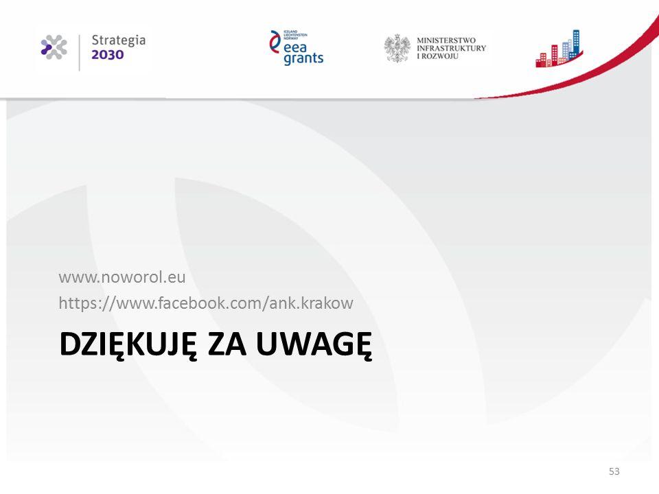 DZIĘKUJĘ ZA UWAGĘ www.noworol.eu https://www.facebook.com/ank.krakow 53