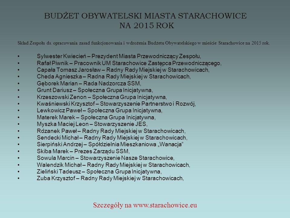 BUDŻET OBYWATELSKI MIASTA STARACHOWICE NA 2015 ROK Szczegóły na www.starachowice.eu