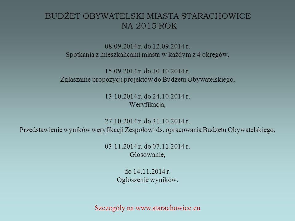 BUDŻET OBYWATELSKI MIASTA STARACHOWICE NA 2015 ROK 08.09.2014 r.