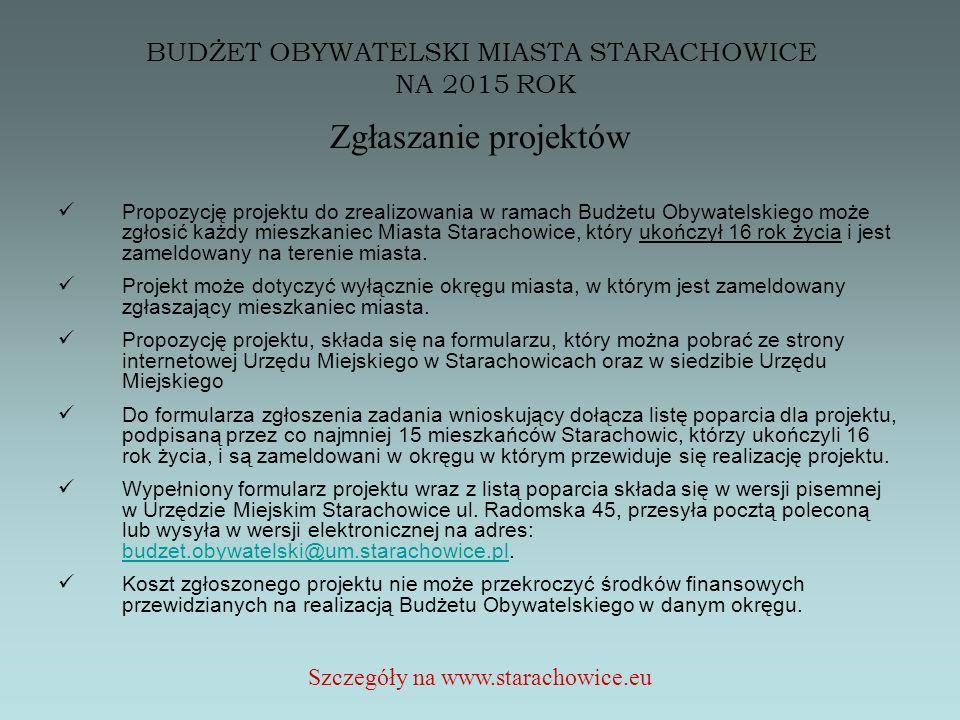 BUDŻET OBYWATELSKI MIASTA STARACHOWICE NA 2015 ROK Zgłaszanie projektów Propozycję projektu do zrealizowania w ramach Budżetu Obywatelskiego może zgłosić każdy mieszkaniec Miasta Starachowice, który ukończył 16 rok życia i jest zameldowany na terenie miasta.