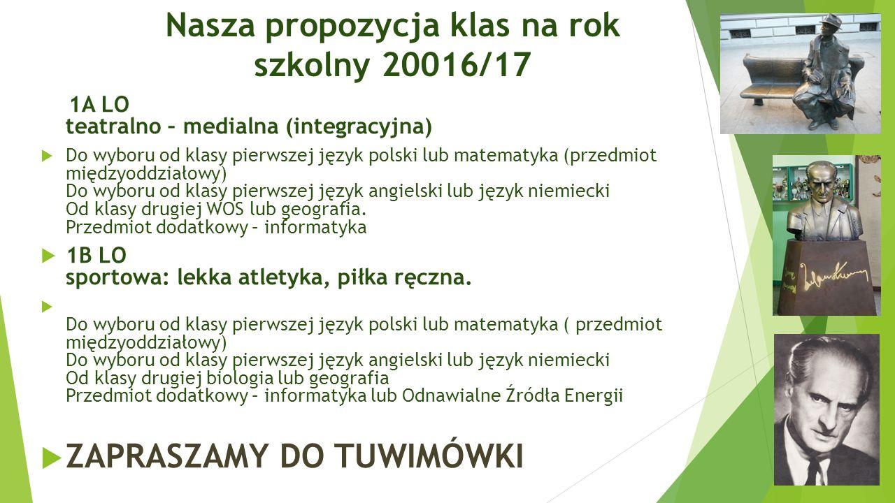 Nasza propozycja klas na rok szkolny 20016/17 1A LO teatralno – medialna (integracyjna)  Do wyboru od klasy pierwszej język polski lub matematyka (pr