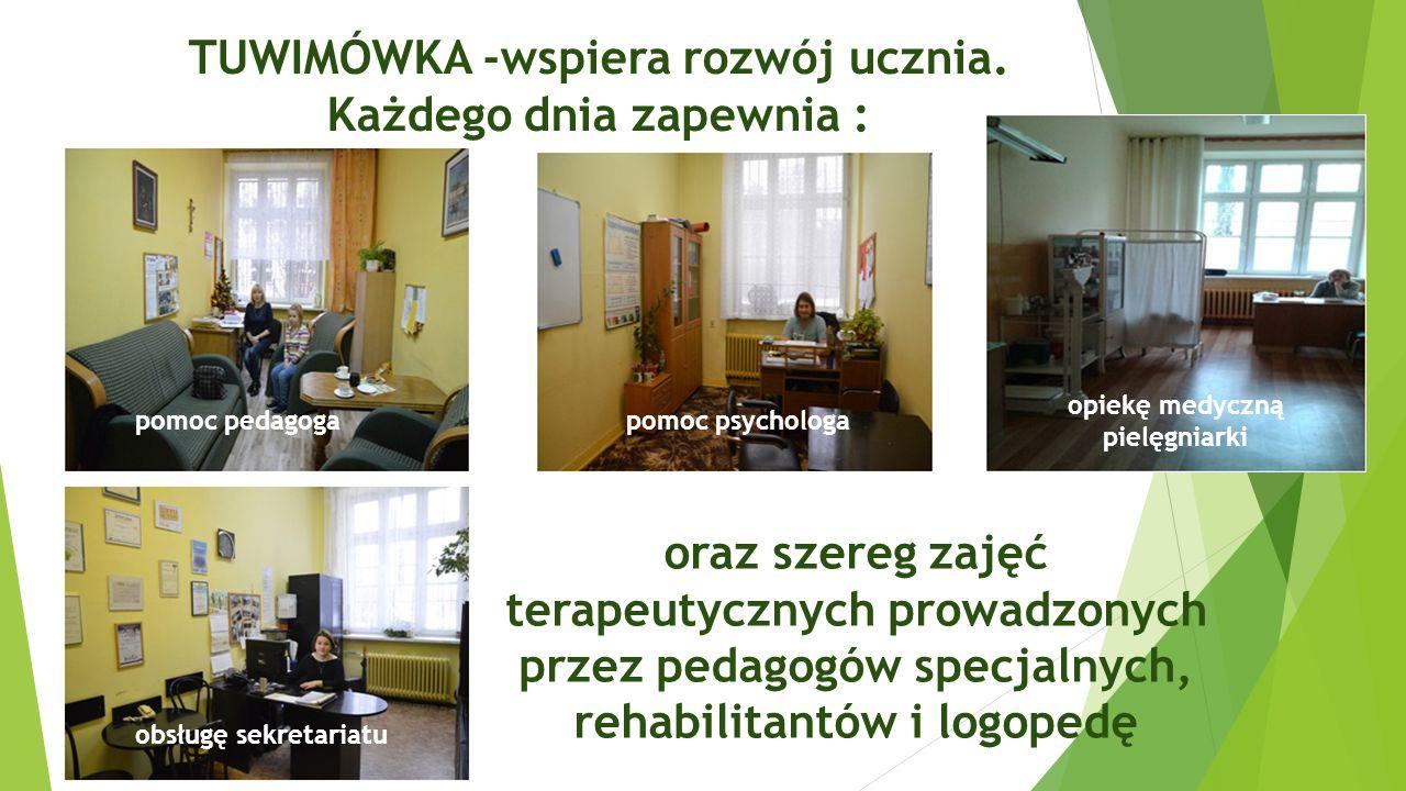 TUWIMÓWKA -wspiera rozwój ucznia. Każdego dnia zapewnia : pomoc pedagogapomoc psychologa opiekę medyczną pielęgniarki oraz szereg zajęć terapeutycznyc