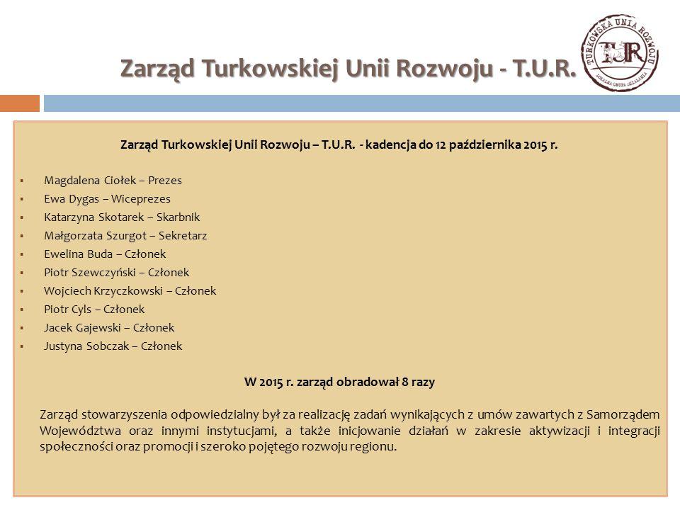Zarząd Turkowskiej Unii Rozwoju - T.U.R. Zarząd Turkowskiej Unii Rozwoju – T.U.R. - kadencja do 12 października 2015 r.  Magdalena Ciołek – Prezes 
