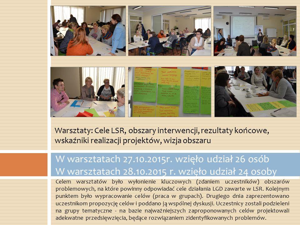 Celem warsztatów było wyłonienie kluczowych (zdaniem uczestników) obszarów problemowych, na które powinny odpowiadać cele działania LGD zawarte w LSR.