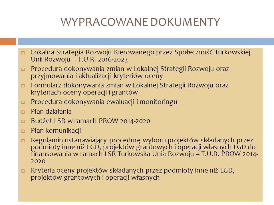 WYPRACOWANE DOKUMENTY  Lokalna Strategia Rozwoju Kierowanego przez Społeczność Turkowskiej Unii Rozwoju – T.U.R. 2016-2023  Procedura dokonywania zm