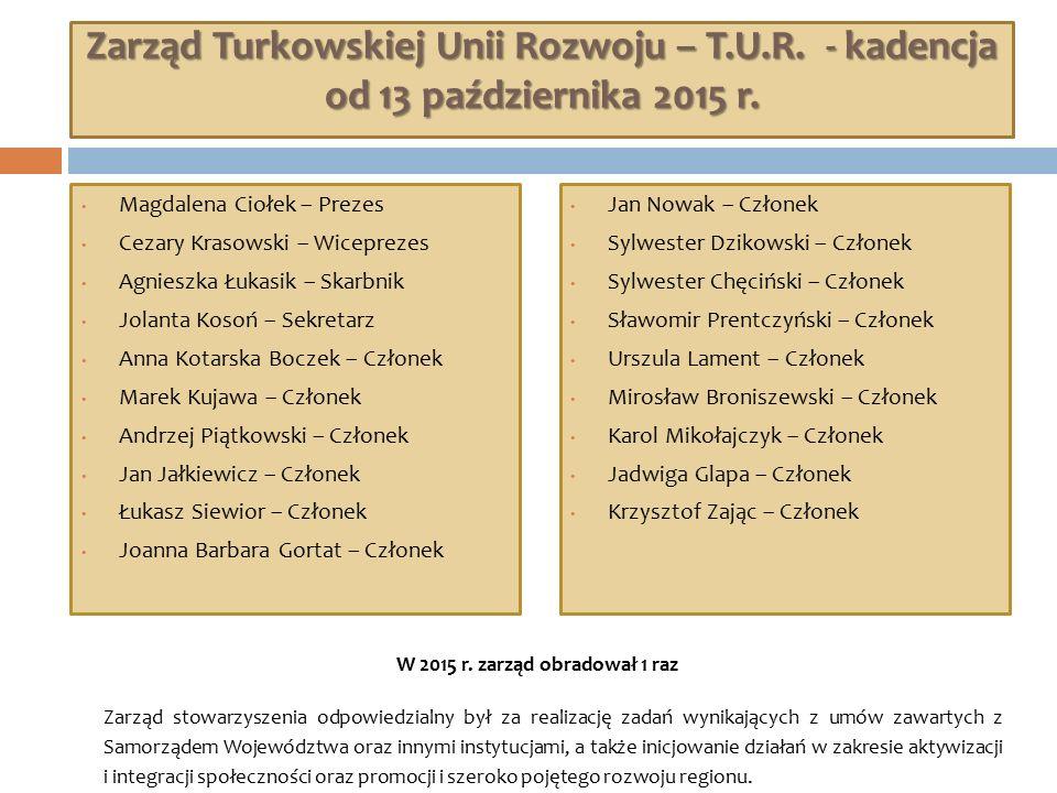 Zarząd Turkowskiej Unii Rozwoju – T.U.R. - kadencja od 13 października 2015 r. Magdalena Ciołek – Prezes Cezary Krasowski – Wiceprezes Agnieszka Łukas