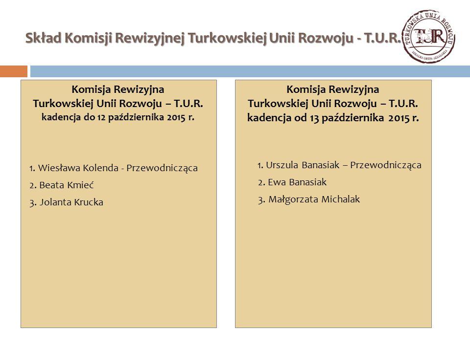 Skład Komisji Rewizyjnej Turkowskiej Unii Rozwoju - T.U.R. Komisja Rewizyjna Turkowskiej Unii Rozwoju – T.U.R. kadencja do 12 października 2015 r. 1.