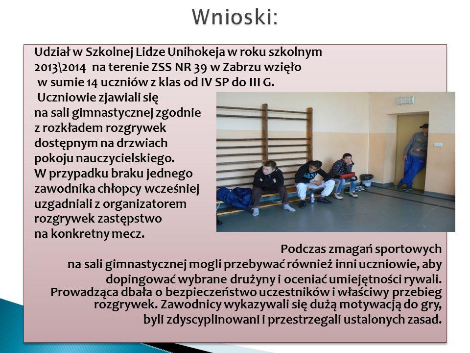 Udział w Szkolnej Lidze Unihokeja w roku szkolnym 2013\2014 na terenie ZSS NR 39 w Zabrzu wzięło w sumie 14 uczniów z klas od IV SP do III G.
