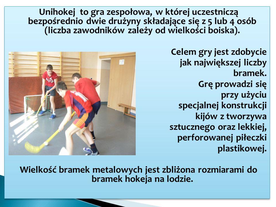 Unihokej to gra zespołowa, w której uczestniczą bezpośrednio dwie drużyny składające się z 5 lub 4 osób (liczba zawodników zależy od wielkości boiska).