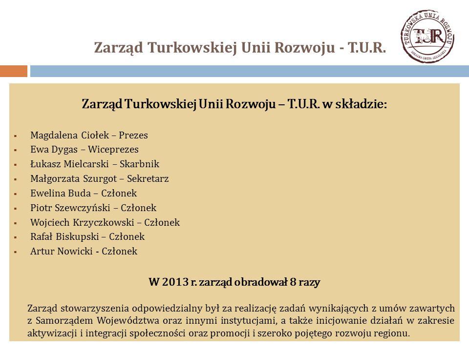 Zarząd Turkowskiej Unii Rozwoju - T.U.R. Zarząd Turkowskiej Unii Rozwoju – T.U.R. w składzie:  Magdalena Ciołek – Prezes  Ewa Dygas – Wiceprezes  Ł