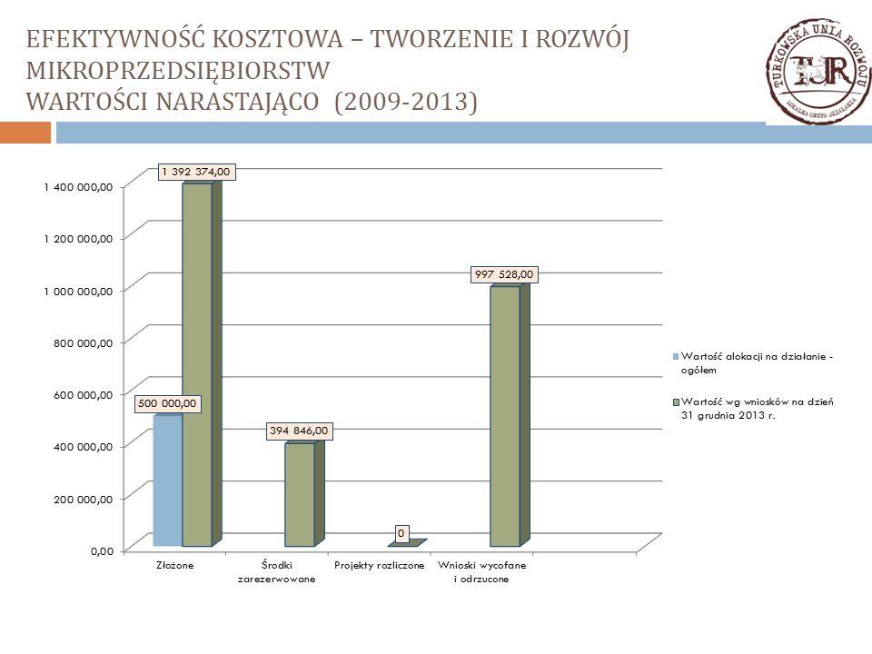 EFEKTYWNOŚĆ KOSZTOWA – TWORZENIE I ROZWÓJ MIKROPRZEDSIĘBIORSTW WARTOŚCI NARASTAJĄCO (2009-2013)