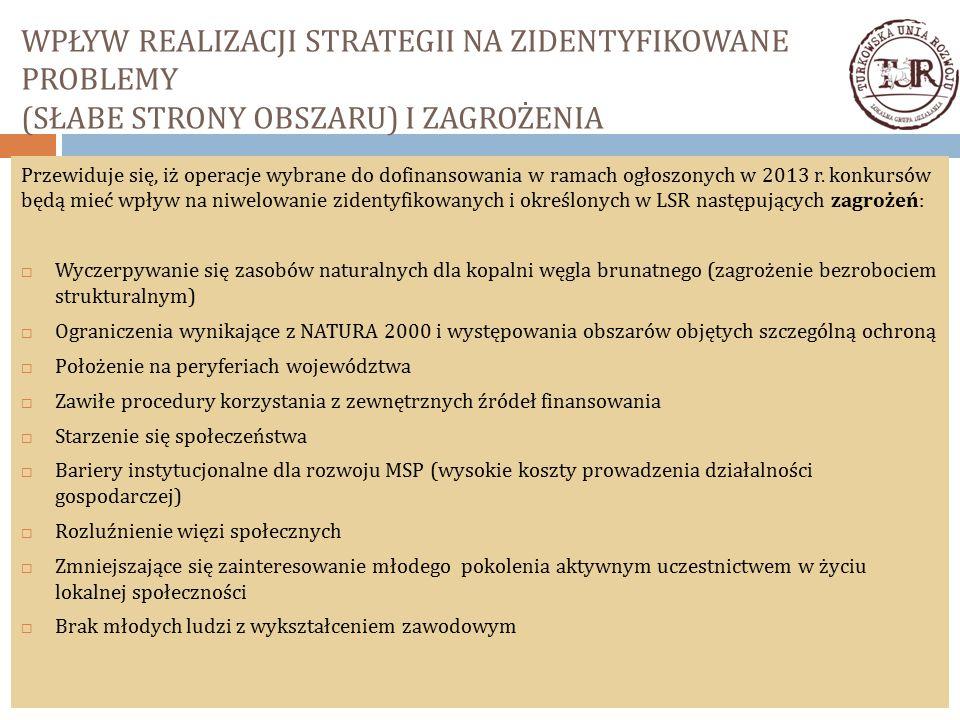 WPŁYW REALIZACJI STRATEGII NA ZIDENTYFIKOWANE PROBLEMY (SŁABE STRONY OBSZARU) I ZAGROŻENIA Przewiduje się, iż operacje wybrane do dofinansowania w ramach ogłoszonych w 2013 r.