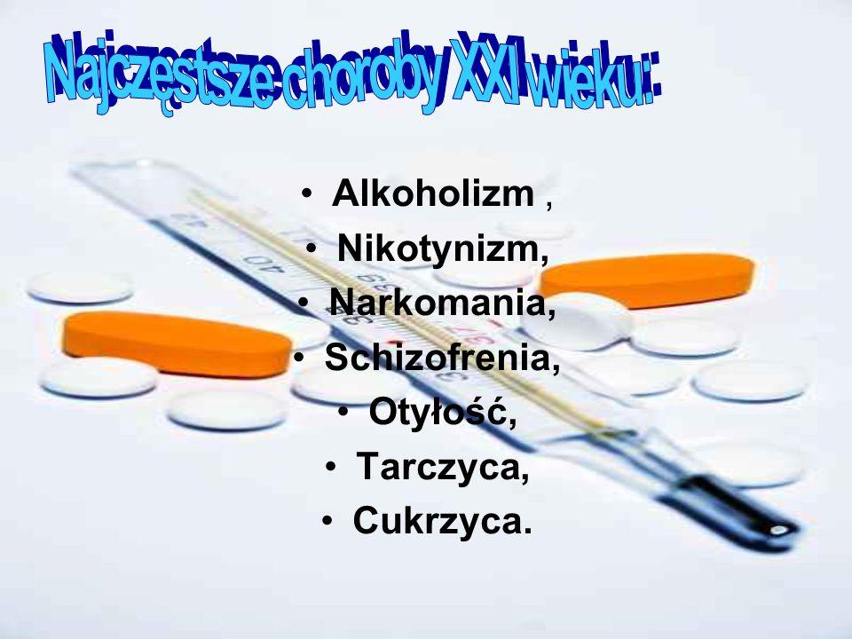 Alkoholizm, Nikotynizm, Narkomania, Schizofrenia, Otyłość, Tarczyca, Cukrzyca.