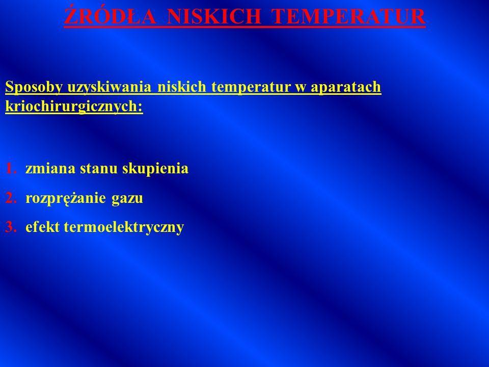 ŹRÓDŁA NISKICH TEMPERATUR * najprostsze źródła: - lód - lód eutektyczny (mieszanina lodu zwykłego z chlorkiem sodu – obniżenie temperatury do –21 o C) - suchy lód (zestalony pod ciśnieniem dwutlenek węgla) - pasta śniegowa (suchy lód zmieszany z alkoholem, eterem lub acetonem w stosunku 1:15) * inne źródła: skroplone gazy (ciecze kriogeniczne) - chlorodifluorometan (-40,8 o C) - chlorek dimetylu i propan (24 o C i – 42 o C) - zestalony dwutlenek węgla (-78,9 o C) - podtlenek azotu (-88,7 o C) - ciekły azot (-195,8 o C)