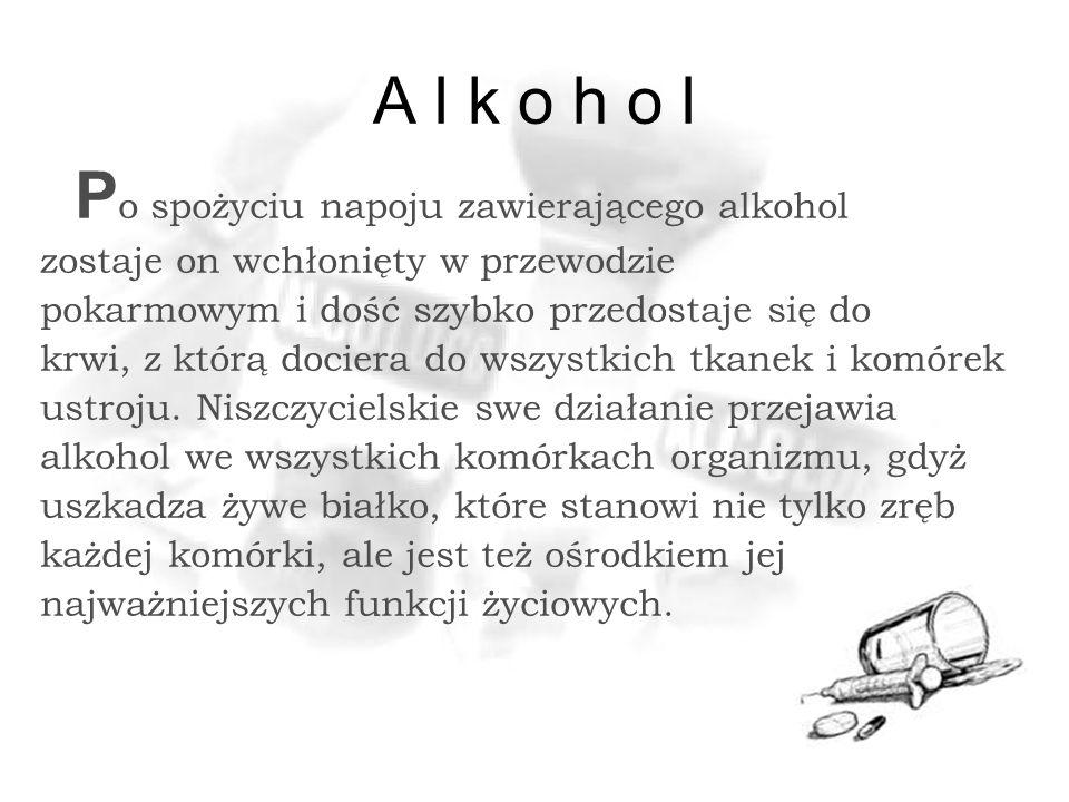 A l k o h o l P o spożyciu napoju zawierającego alkohol zostaje on wchłonięty w przewodzie pokarmowym i dość szybko przedostaje się do krwi, z którą dociera do wszystkich tkanek i komórek ustroju.