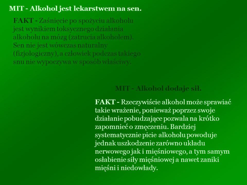 MIT - Alkohol jest lekarstwem na sen. FAKT - Zaśnięcie po spożyciu alkoholu jest wynikiem toksycznego działania alkoholu na mózg (zatrucia alkoholem).