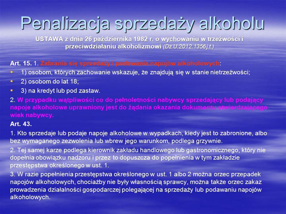 Penalizacja sprzedaży alkoholu USTAWA z dnia 26 października 1982 r.