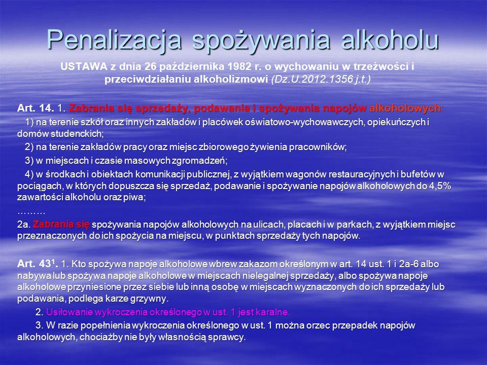 Penalizacja spożywania alkoholu USTAWA z dnia 26 października 1982 r.