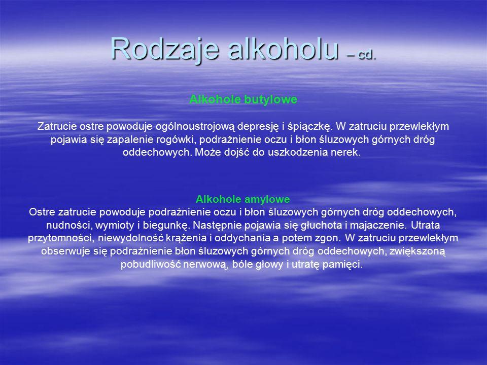 Rodzaje alkoholu – cd.