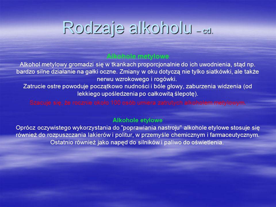 Alkohole metylowe Alkohol metylowy gromadzi się w tkankach proporcjonalnie do ich uwodnienia, stąd np.