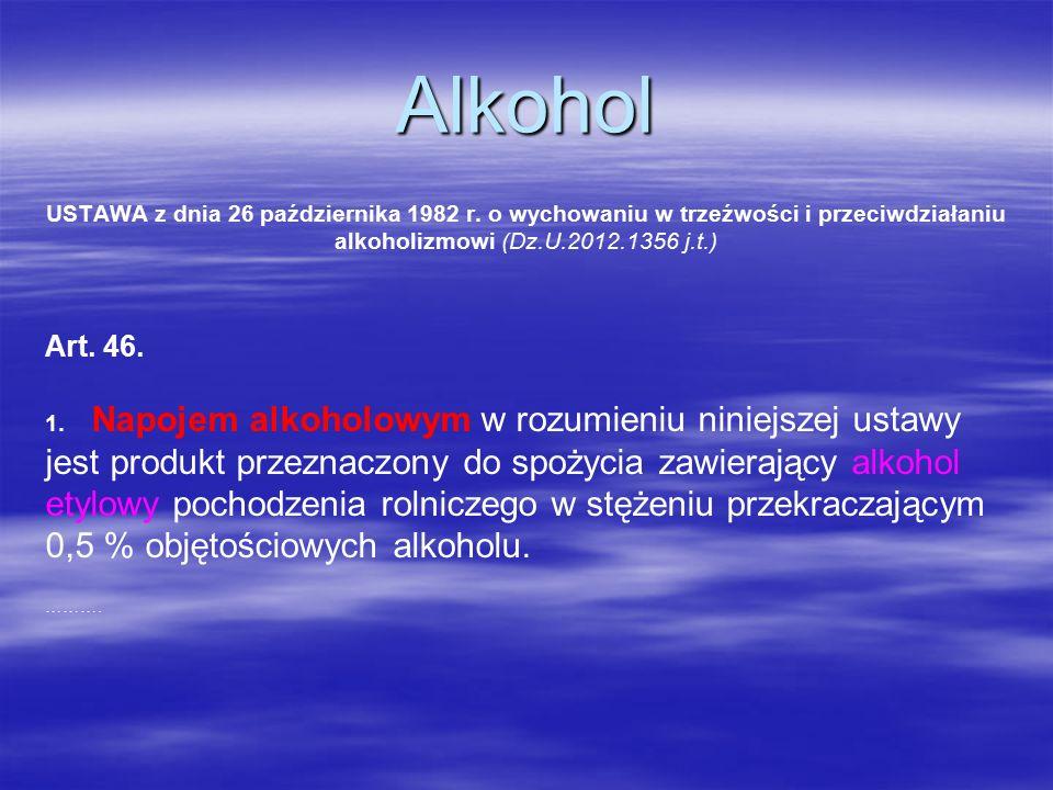 Alkohol USTAWA z dnia 26 października 1982 r.