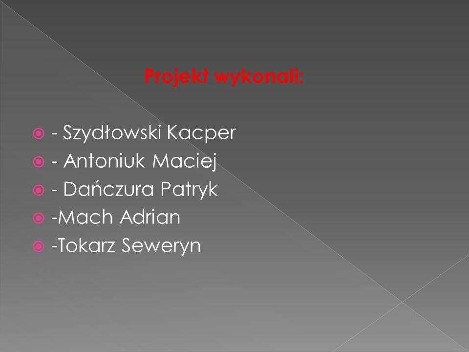 Projekt wykonali:  - Szydłowski Kacper  - Antoniuk Maciej  - Dańczura Patryk  -Mach Adrian  -Tokarz Seweryn
