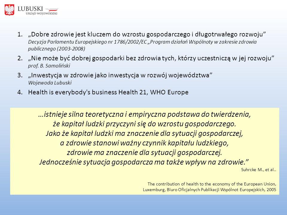 """1.""""Dobre zdrowie jest kluczem do wzrostu gospodarczego i długotrwałego rozwoju Decyzja Parlamentu Europejskiego nr 1786/2002/EC """"Program działań Wspólnoty w zakresie zdrowia publicznego (2003-2008) 2.""""Nie może być dobrej gospodarki bez zdrowia tych, którzy uczestniczą w jej rozwoju prof."""