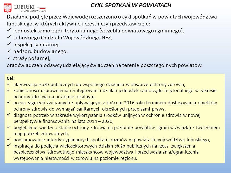 CYKL SPOTKAŃ W POWIATACH Działania podjęte przez Wojewodę rozszerzono o cykl spotkań w powiatach województwa lubuskiego, w których aktywnie uczestniczyli przedstawiciele: jednostek samorządu terytorialnego (szczebla powiatowego i gminnego), Lubuskiego Oddziału Wojewódzkiego NFZ, inspekcji sanitarnej, nadzoru budowlanego, straży pożarnej, oraz świadczeniodawcy udzielający świadczeń na terenie poszczególnych powiatów.